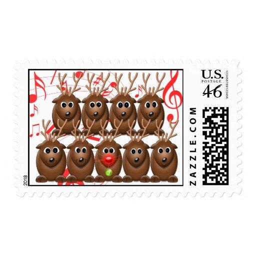 Santa's Reindeer Christmas Customizable Postage