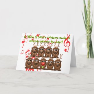Santa's Reindeer Funny Christmas Greeting Card card
