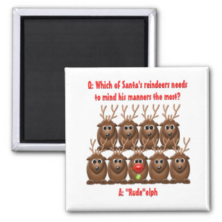 Santa's Reindeer Funny Christmas Magnet