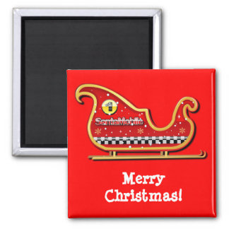 Santa's Reindeer-less Sleigh Cartoon Magnet