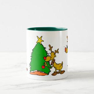 Santa's Reindeer Two-Tone Coffee Mug