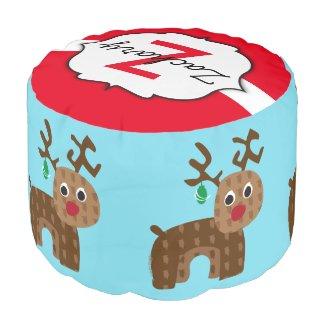 Santa's Reindeer Round Pouf