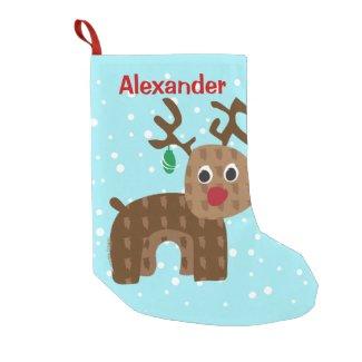 Santa's Reindeer Small Christmas Stocking