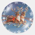 SANTA'S REINDEER & SNOWFLAKES by SHARON SHARPE Classic Round Sticker