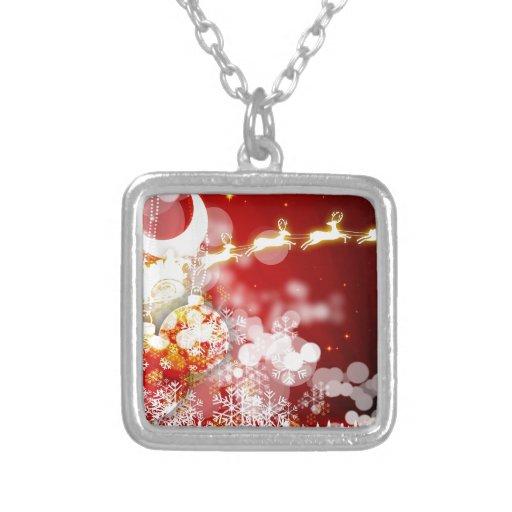 Santa's Reindeer Square Pendant Necklace