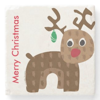 Santa's Reindeer Stone Coaster