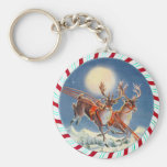 SANTA'S REINDEER & WREATH by SHARON SHARPE Key Chain