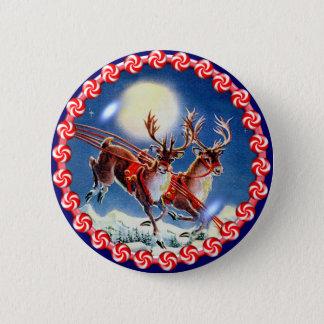 SANTA'S REINDEER & WREATH by SHARON SHARPE Pinback Button