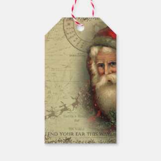 Santa's Route Map Gift Tag