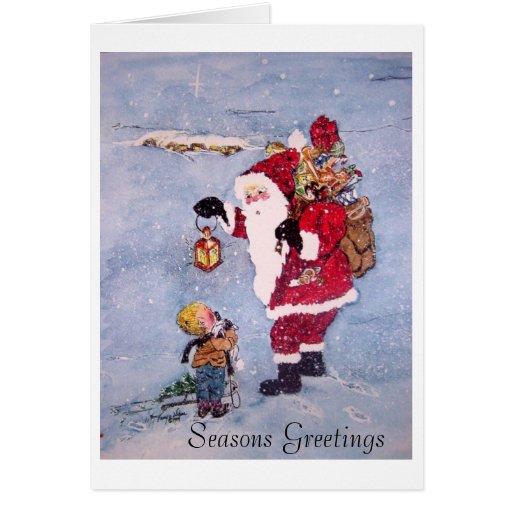 Santa's Secret-AB copy, Seasons Greetings Greeting Cards