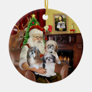 Santa's Shih Tzus (THREE) Ceramic Ornament