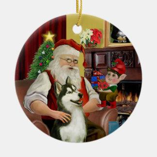 Santa's Siberian Husky #3 Double-Sided Ceramic Round Christmas Ornament