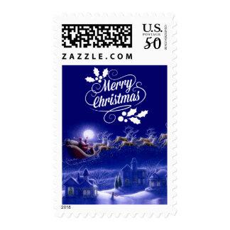 Santa's Sleigh and Reindeer Christmas Postage