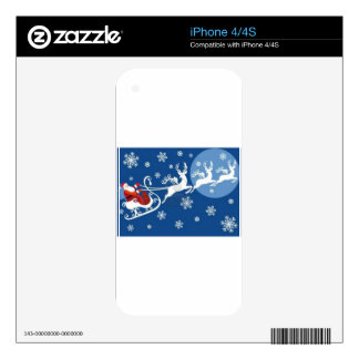 Santa's Sleigh and Reindeer Decals For iPhone 4S