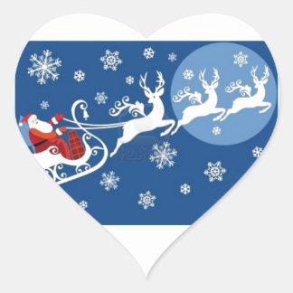 Santa's Sleigh and Reindeer Heart Sticker