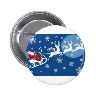 Santa's Sleigh and Reindeer Pinback Button
