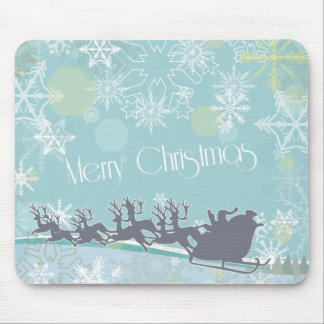Santa's Sleigh and Snowflakes Mouse Pad