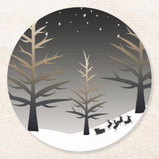 Santa's Sleigh and Tree Silhouette Round Paper Coaster
