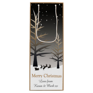 Santa's Sleigh and Tree Silhouette. Wine Gift Bag