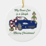 Santa's Sleigh-Blue Christmas Tree Ornament
