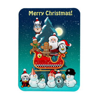 Santa's Sleigh By The Christmas Tree Rectangular Photo Magnet