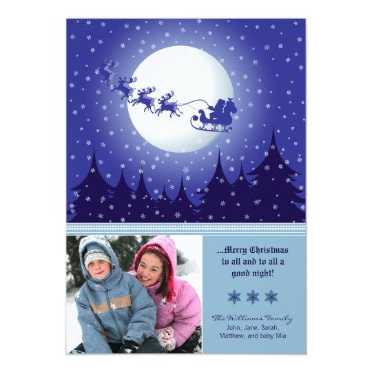 Santa's Sleigh Custom Family Holiday Card (blue)