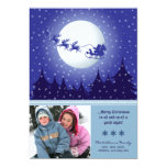 Santa's Sleigh Custom Family Holiday Card (blue) Personalized Invites