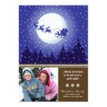 Santa's Sleigh Custom Family Holiday Card (brown) Invites