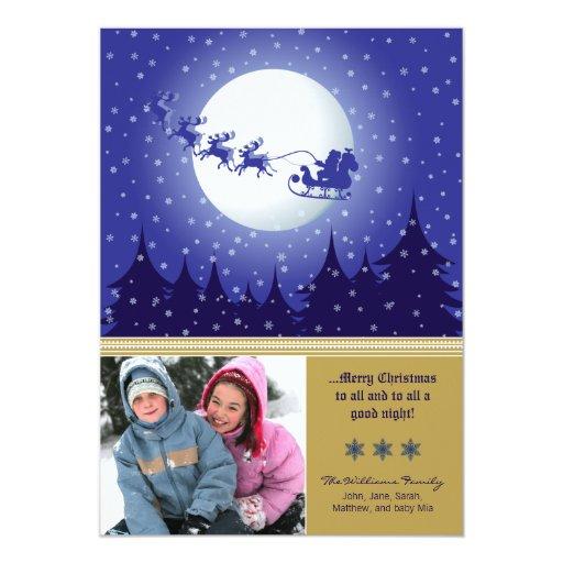 Santa's Sleigh Custom Family Holiday Card (gold) Announcements