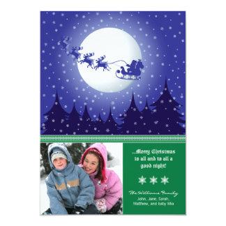 Santa's Sleigh Custom Family Holiday Card (green)