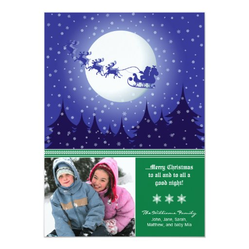 Santa's Sleigh Custom Family Holiday Card (green) Personalized Announcements