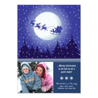 Santa's Sleigh Custom Family Holiday Card (navy)
