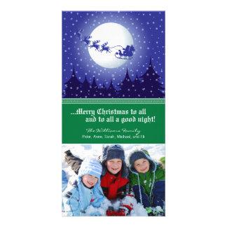 Santa's Sleigh Custom Holiday Photocard (green) Card