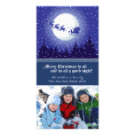 Santa's Sleigh Custom Holiday Photocard (navy) Card