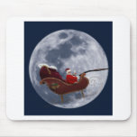 Santa's Sleigh Flying by the Moon Mousepads