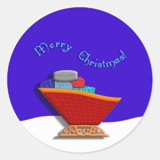 Santas Sleigh & Gifts Round Sticker