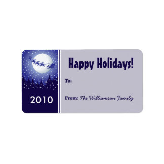 Santa's Sleigh Holiday Gift Tag (blue) Custom Address Labels