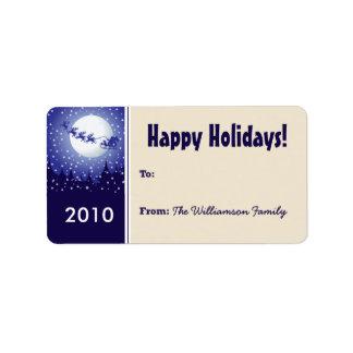Santa's Sleigh Holiday Gift Tag (gold) Custom Address Label