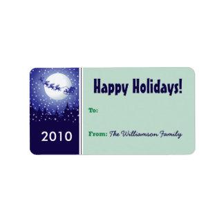 Santa's Sleigh Holiday Gift Tag (green) Custom Address Labels