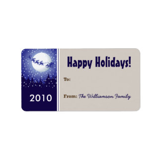 Santa's Sleigh Holiday Gift Tag (taupe) Custom Address Labels