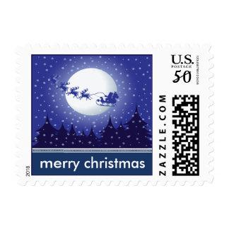 Santa's Sleigh Holiday Postage (navy)