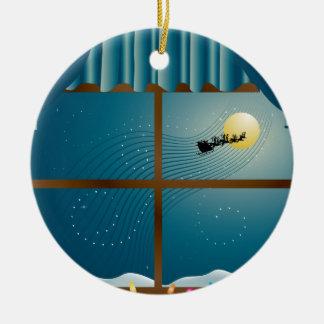 Santa's Sleigh in Moonlight Ornament