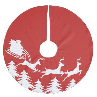 Santa's Sleigh & Reindeer Brushed Polyester Tree Skirt