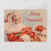 Santas Sleigh Ride Business Christmas Postcard