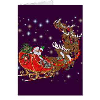 Santa's Sleigh Ride Greeting Card