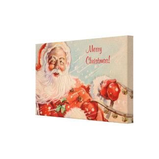 Santas Sleigh Ride Christmas Small Canvas Print