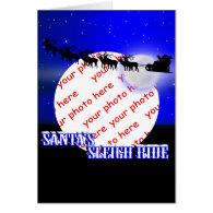 Santa's Sleigh Ride Photo Frame Greeting Card