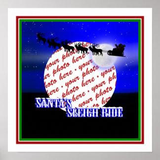 Santa's Sleigh Ride Photo Frame Poster