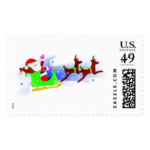 Santa's Sleigh Ride Postage Stamps