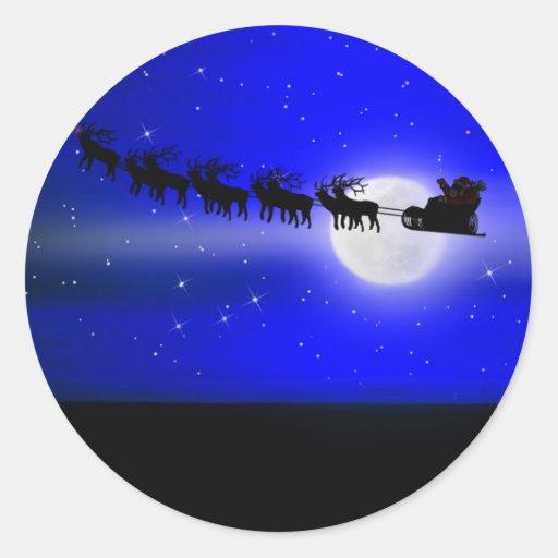 Santa's Sleigh Ride Round Stickers